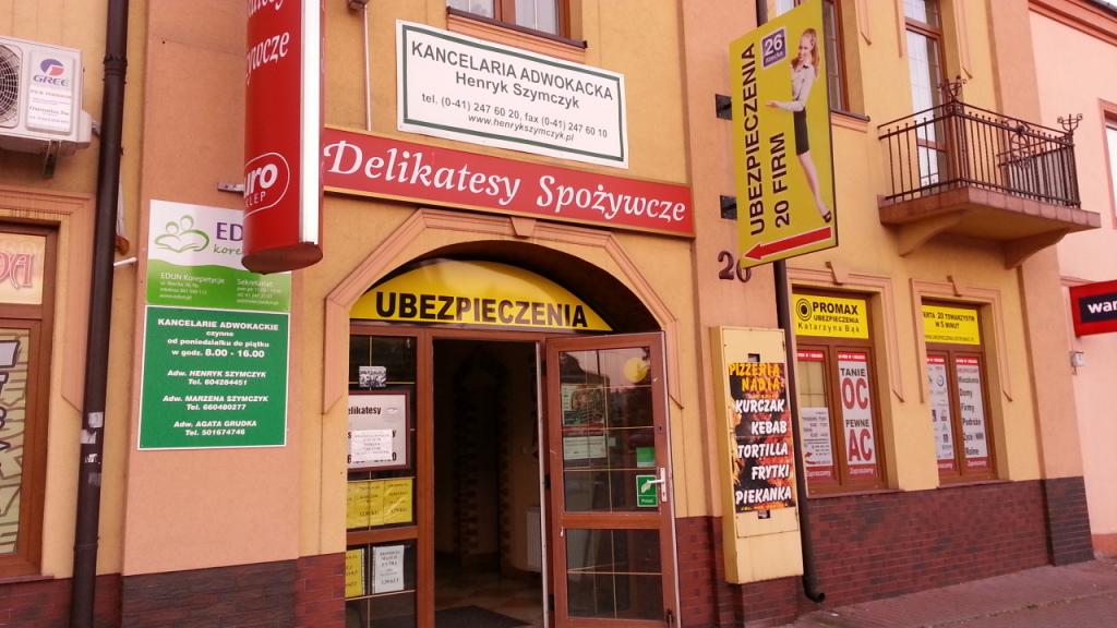 Biuro PORMAX Ubezpieczenia ul. Iłżecak 26 w Ostrowcu naprzeciwko Starostwa Powiatowego