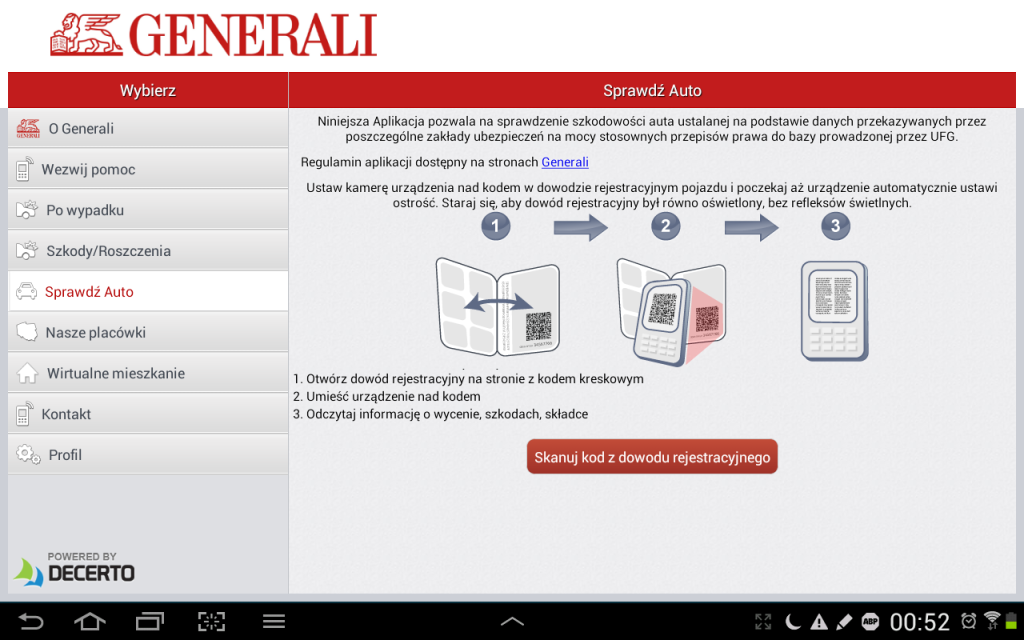 Skanowanie kodu z dowodu rejestracyjnego aplikacją Generali Auto