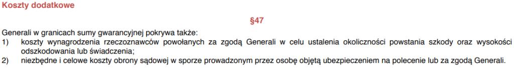 Koszty dodatkowe OC w zyciu prywatnym Generali zapis z OWU 1024x139 - OC w życiu prywatnym