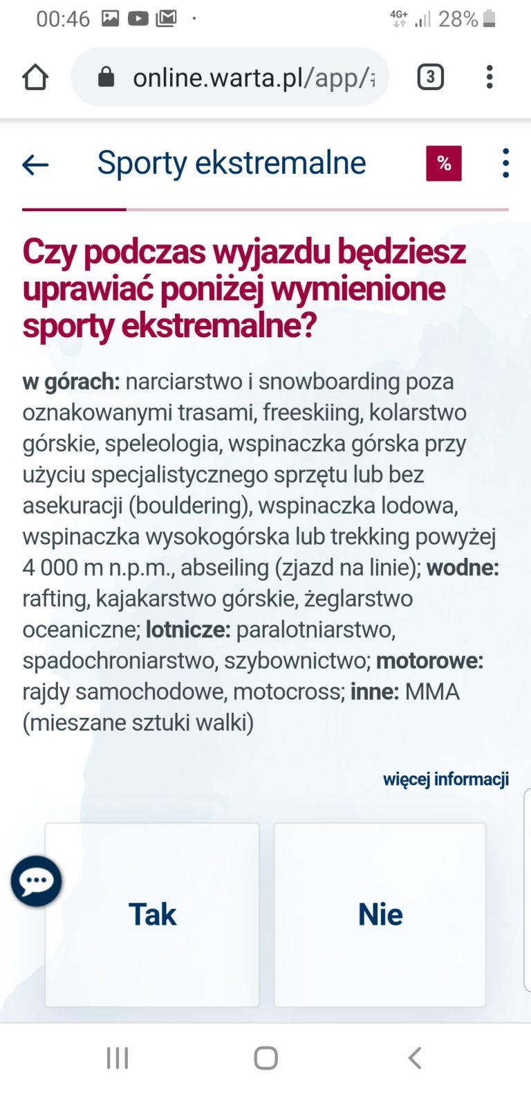 ubezpieczenie na narty za granicą warta travel online - zimowe sporty ekstremalne