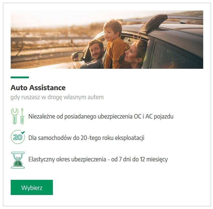auto assistance dla auta do 20 lat 7 14 21 30 dni rok - Assistance na wakacje na 14 dni - holowanie i pomoc w razie kłopotów z autem na urlopie