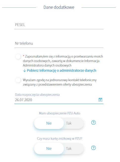 Dane dodatkowe w formularzu PZU