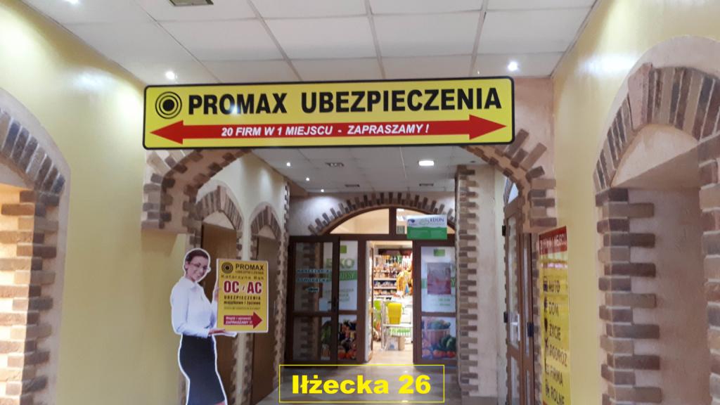 Biuro PROMAX Ubezpieczenia ul. Iłżecka 26 wewnątrz budynku