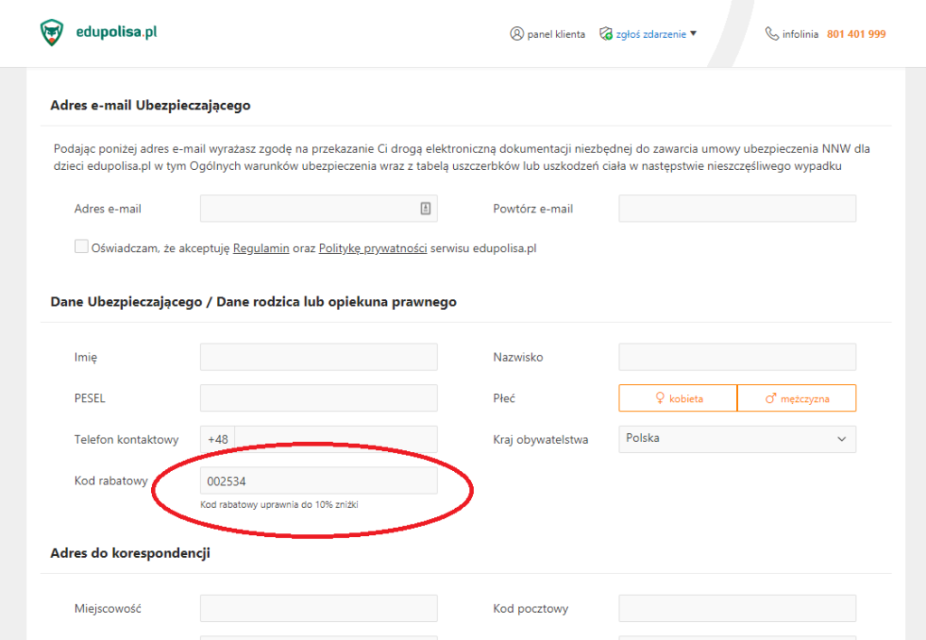 Kod rabatowy edupolisa.pl wpisujemy w miejscu zaznaczonym na czerwono